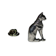 Egyptian Style Cat Pewter LAPEL PIN Club Group Hat Cap Badge Present GIFT BOX