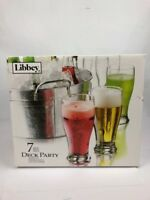 PILSNER GLASSES Set of 6 WITH METAL ICE TUB Deck Party Libbey Brand New FSTSHP