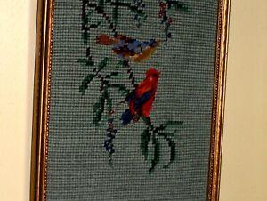 Old Vintage 2 Birds Red Blue Cardinal Blooming Tree Flowers NEEDLEPOINT WOOL