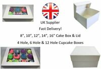 """White Cake & Cupcake Boxes for 4, 6, 12 Cup Cakes 8"""", 10"""", 12"""", 14"""", 16"""" Box"""