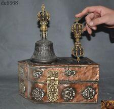 Old Tibetan Meteorite iron bronze Gilt Wood Exorcism Bell Vajra Dorje Phurpa Set
