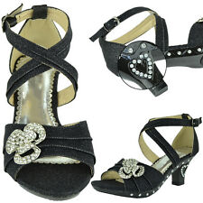 Girls High Heel Pageant Dress Sandals w/ Ankle Strap Rhinestone ** RUN SMALL **