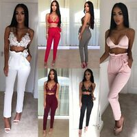 Womens Belted Paper Bag Cropped Pants Tie Up High Waist Cigarette Bottom Trouser