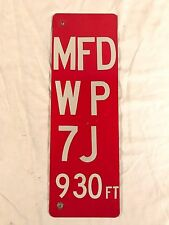 Vintage Side Mount Road Traffic Safety Sign Aluminum 'MFD WP 7J 930ft' M.F.D.