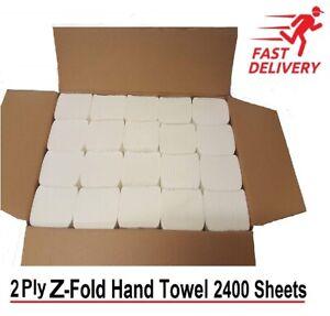 Luxury White 2 Ply Z Fold Paper Hand Towels Multi fold Case of 2400 C Fold