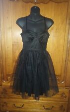 Kensie Black structured Bustier Corset with flared mesh party dress 4 *
