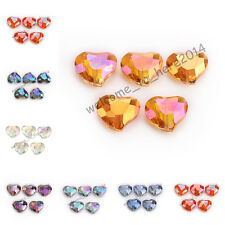 5/10pcs 20x16mm Faceted Crystal Glass Charms Heart Spacer Beads DIY Findings
