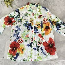 COLDWATER CREEK Women Blouse 1X Colorful Floral LINEN Full Zip Front 3/4 Sleeves