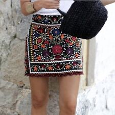 ZARA EMBROIDERED FLORAL SKIRT OLIVIA PALERMO BLOGGERS SIZE L LARGE