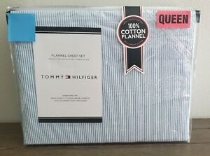Tommy Hilfiger Blue White Oxford Stripe Flannel Queen Sheet Set 4 pc