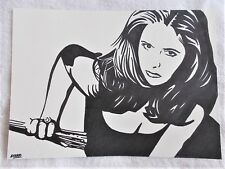 A4 Art Marker Pen Sketch Drawing Buffy The Vampire Slayer with Stake Poster