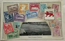 TASMANIA PRE 1900 WEST DEVONPORT VIGNETTE POST CARD WITH 16 EMBOSSED STAMPS