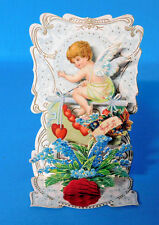 Antique German Die Cut Angel Fold Out Honeycomb Victorian Valentine Card 3D