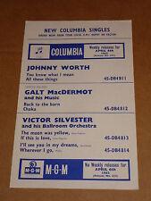 Johnny Worth/Shadows/Gene Chandler/Dovells 1962 EMI Group Records Release Sheet