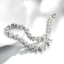 Tennis Bracelet Stainless Steel CZ White Gold Plated 7.5 inches