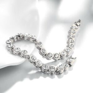 Tennis Bracelet 18K White Gold Plated made with Crystals with Gift Box