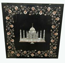 "18""x18"" Black Taj Mahal Design Marble Inlay Table Top Coffee Center Inlay Work"