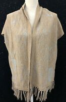 Anthropologie Angel Of The North Womens Sz M Gold Sleeveless Open Front Sweater