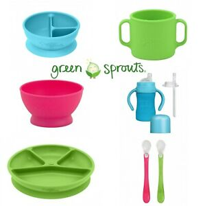 Learning Cup /Bowl / Plate / Spoons Silicone, GREEN SPROUTS, Pink / Aqua / Green