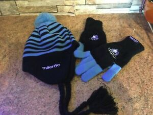 Glasgow Warriors Rugby hat and gloves set BNWT free postage