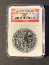 2017 U.K. £5 Silver Queen's Beasts Red Dragon of Wales 2oz NGC MS69 (4/4).