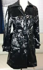 Trilogi Black Shinny Rain Coat Long Trench Jacket Belted Sz Small Sexy Stylish