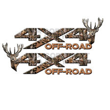 4x4 OFF ROAD REAL Camo TREE Deer Head TRUCK Decal Sticker!!  Mirrored