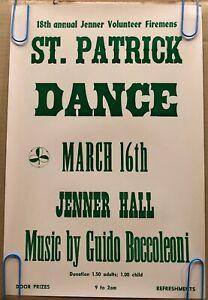 Original Vintage Poster Saint Patrick Dance Advertisement Pin Up 1960's