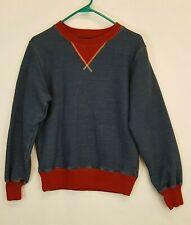 KAPITAL Japan Pullover Crew neck Cotton Ribbed Sweatshirt Size 2 Red Indigo Blue