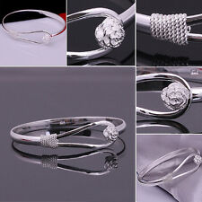 Hot Sale 1Pc Lady Flower Silver Plated Bangle Chain Charm Cuff Bracelet Jewelry