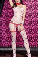 SEXY WHITE OPEN CROTCH CROTCHLESS BODYSTOCKING  BODYSUIT VALENTINES / CHRISTMAS