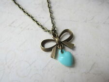 """Vintage Bronze Plated Pretty Bow And Plastic Heart 18"""" Long Necklace Brand New"""