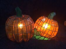 Vintage Cracker Barrel Stained Glass Double Pumpkin Tiffany Lamp