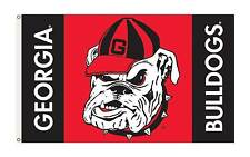Georgia Bulldog Head Flag 3'x 5' Licensed Polyester 2 Eyelets Grommets 1 Sided