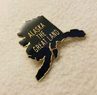 Alaska The Great Land AK State Blue Enamel Lapel Pin Metal Travel Souvenir