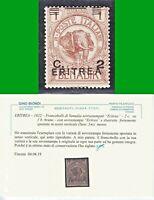 ERITREA 1922  FRANCOBOLLI di SOMALIA SOPR  2c su 1b n. 54c MNH** -VARIETà CERTIF