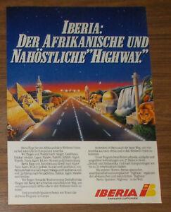 Seltene Werbung IBERIA - Der afrikanische & nahöstliche Highway Elefant 1985