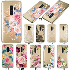 For Samsung Galaxy S9 Note 9 S10 Slim Soft Silicone Flowers Clear Gel Case Cover