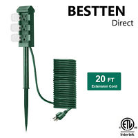 BESTTEN Outdoor Power Strip 3-Outlet Yard Power Stake w/ Cover 20FT Cord ETL
