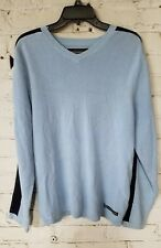 Abercrombie Fitch 92 Mens Sweater Medium Powder Blue Cotton Blend Knit V-Neck