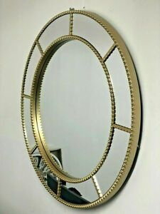 Large Round window wall Mirror Shabby Chic Art Deco Moroccan Gold 61x61cm