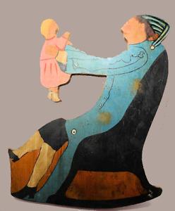 creepy PRIMITIVE FOLK ART Woman rocking chair holds baby girl wooden Wall decor