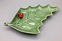 Bordallo Pinheiro Portugal Holly Leaf Serving Dish Green and Red Christmas