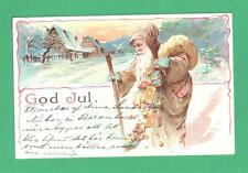 EARLY VINTAGE SWEDISH CHRISTMAS POSTCARD SANTA CLAUS COOKIES TOYS SPILL SNOW