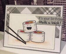 "Stampin Up/ Your Next Stamp ""Maki A Wish"" Happy Birthday Sushi Handmade Card"