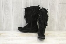 Minnetonka 2 Layer Fringe Boot - Women's Size 6 Black