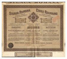 ACTION ETOILE ROUMAINE PETROLE 500 LEI 1921