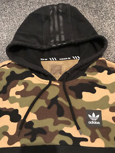 Adidas Originals Skateboarding Hoodie Mens Medium Black With Camouflage Rare