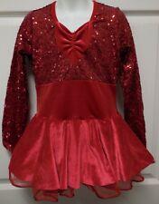 Red Velvet Sequin Long Sleeve Tap Costume Art Stone Girls Medium Child NWOT