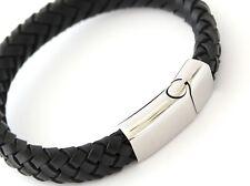MILAN Black Leather & Stainless Steel Mens Personalised Bracelet Engraved Gift